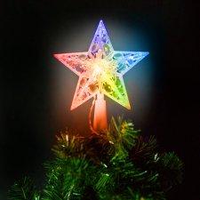 Vianočná LED hviezda na špic stromu - 10 LED - 15 cm - RGB - 2 x AA