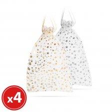 Darčeková taška z organzy - strieborná,zlatá - 23 x 16 cm - 4 ks / balenie