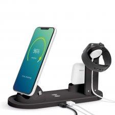 Bezdrôtová nabíjacia stanica - k mobilným telefónom, hodinkým, slúchadlám - čierna