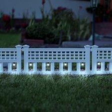 LED solárny plot - 58 x 36 x 3,5 cm - studená biela - 4 ks / sada