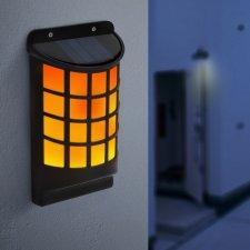 Solárna LED nástenná lampa - s efektom plameňov - čierna s mriežkami - 18 x 10 cm
