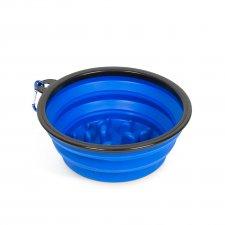 Skladacia miska - proti hltaniu - modrá - 1000 ml