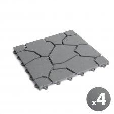 Záhradné dlaždice - kamenný vzor sivý - plast - 4ks - balenie