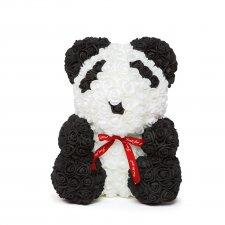 Panda z ruží - s červenou mašľou - 40 cm