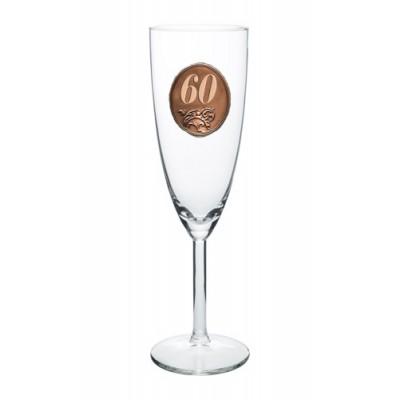 60  rokov Pohár na sekt a šampanské kovová etiketa