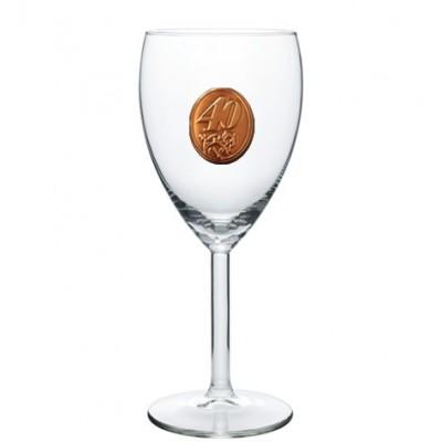 40  rokov Pohár na víno  kovová etiketa