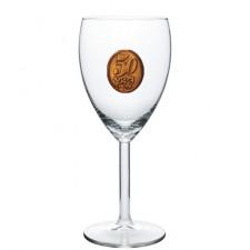 50  rokov Pohár na víno  kovová etiketa