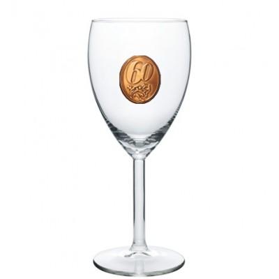 60  rokov Pohár na víno  kovová etiketa