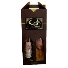 (0-90) rokov Darčekový vínny set šumivé s 23 karátovým zlatom - pohár