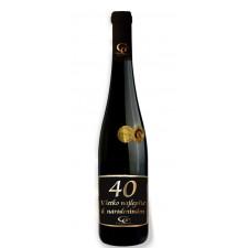 0,75 L Darčekové víno Červené Renana metalická  etiketa 40 rokov