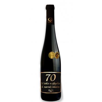0,75 L Darčekové víno Červené Renana metalická  etiketa 70 rokov