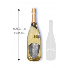 1,5 L Svadobné Zlaté šumivé kovová etiketa