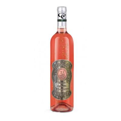 70  Rokov - Darčekové Ružové so zlatom  0,7  Kovová etiketa