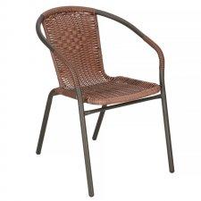 SPRINGOS Záhradná stolička kov - hnedá