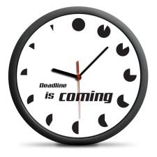 Hodiny s nápisom Deadline is coming