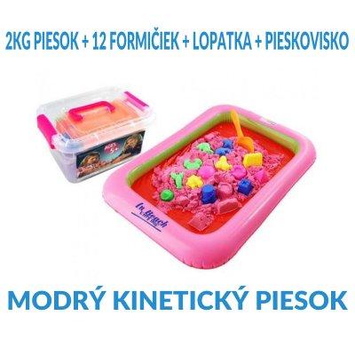 SPRINGOS Kinetický piesok 2KG + 12 formičiek + lopatka + pieskovisko - Modrý