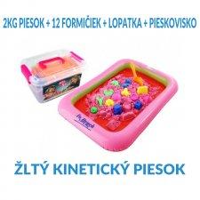 SPRINGOS Kinetický piesok 2KG + 12 formičiek + lopatka + pieskovisko - Žltý