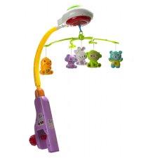 Kolotoč na detskú postieľku s projektorom, s hudbou a hračkami