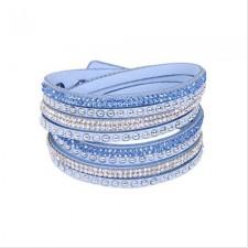 Kožený náramok - Light blue
