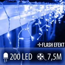 LED SVETELNÁ ZÁCLONA FLASH 200LED 7.5M MODRÁ