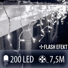 LED SVETELNÁ ZÁCLONA FLASH 200LED 7.5M STUDENÁ BIELA