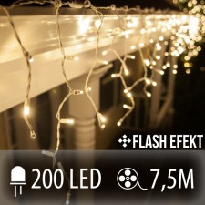 LED SVETELNÁ ZÁCLONA FLASH 200LED 7.5M TEPLÁ BIELA