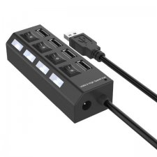 LED USB Hub s vypínačmi – 4 porty