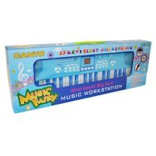 Modré elektronické klávesy s mikrofónom
