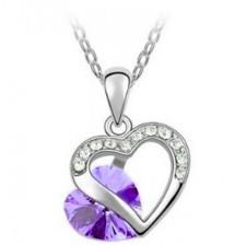 Swarovski prívesky Hearts - fialová