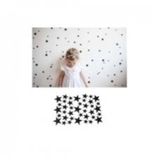 Nástenné samolepky hviezdy - čierne - 42ks