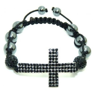Shamballa náramok black Cross