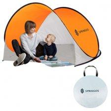 Plážový stan POP-UP Springos 200 x 120 CM - bielo-oranžový - výstavný kus