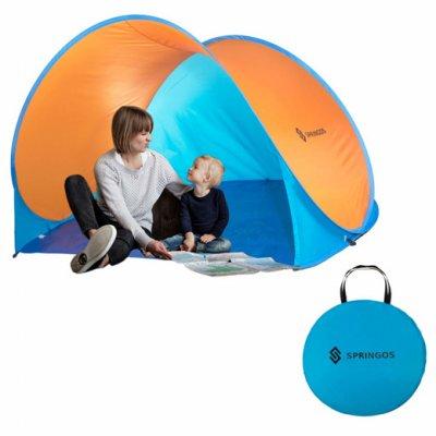 Plážový stan POP-UP Springos 200 x 120 CM - modro-oranžový