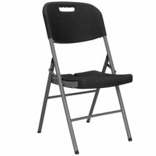 SPRINGOS Skladacia stolička - čierna