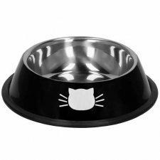 SPRINGOS Miska pre mačky - kov+guma - čierna