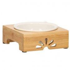 SPRINGOS Miska pre psa a mačku so stojanom - keramika+bambus