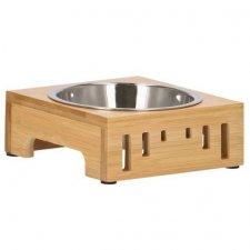 SPRINGOS Miska pre psa a mačku so stojanom - kov+bambus