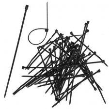 Sťahovacie pásky 2,5 x 200mm - 100 ks - čierne