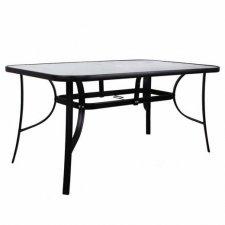 Springos Záhradný stôl 150cm - čierny kov+sklo