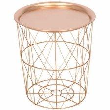 SPRINGOS drôtený konferenčný stolík - 40cm - kov - ružové zlato