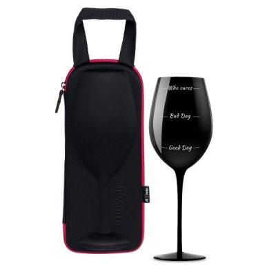Puzdro s maxi pohárom na víno Who Cares - čierna