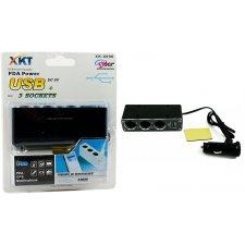 Rozdeľovač auto zapaľovača z 1 na 3 + USB