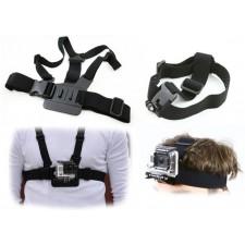Set pre GOPRO kameru čelenka + držiak na prsia