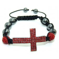 Shamballa náramok black Cross red