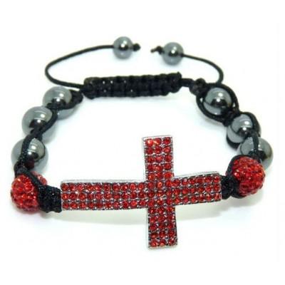 Shamballa náramok black Cross red