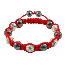 Shamballa náramok metal-red-silver