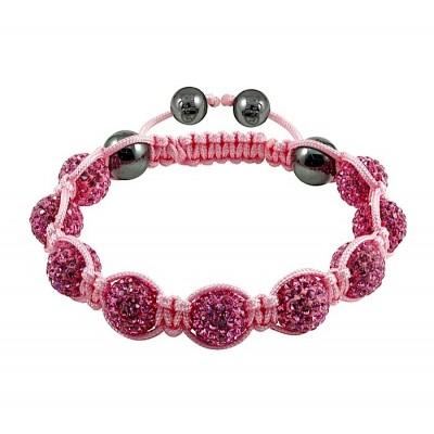 Shamballa náramok pink-pink