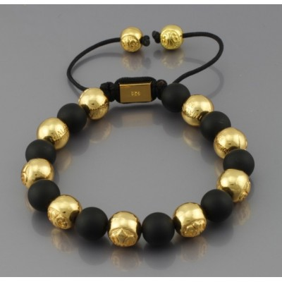 Shamballa náramok LUXURY gold-black