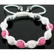 Shamballa náramok white pink-silver