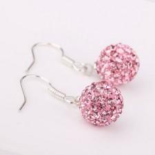 Shamballa náušnice Hang Pink